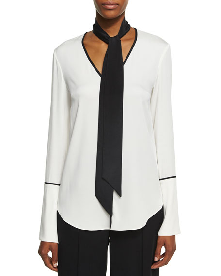 Long-Sleeve V-Neck Scarf Silk Blouse