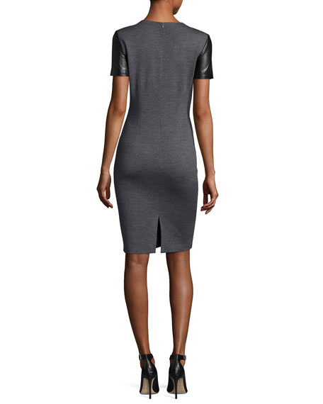 Milano Knit Jewel-Knit Dress W/ Leather Sides