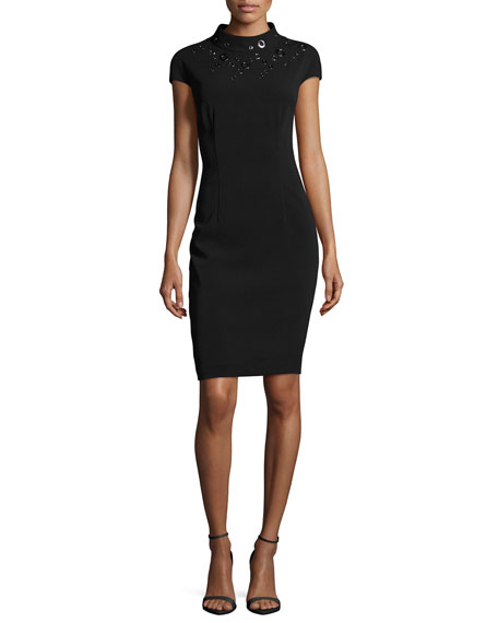 Stretch-Cady Funnel-Neck Dress W/ Grommets