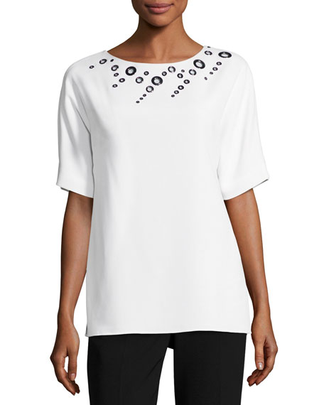 St. John Collection Short-Sleeve Cady Top W/ Grommets