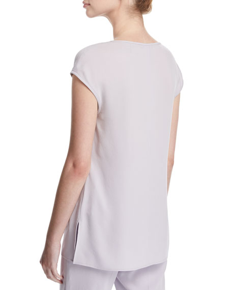 Satin-Back Crepe Cap-Sleeve Top