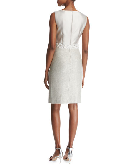 Jasmine Jewel-Neck Sparkle-Knit Cocktail Dress