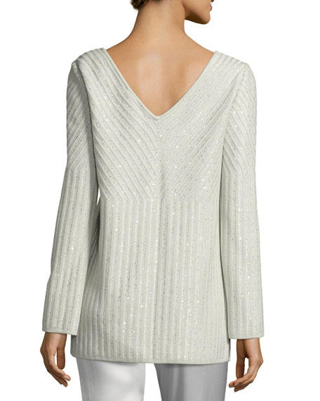 Sparkle Engineered Rib Bateau-Neck Sweater