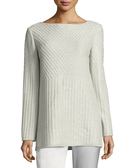 St. John Collection Sparkle Engineered Rib Bateau-Neck Sweater