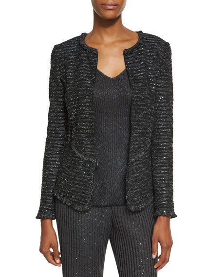 Sparkle Wave Tweed Knit Jacket