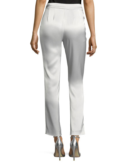 Liquid Satin Cropped Pants, Silver