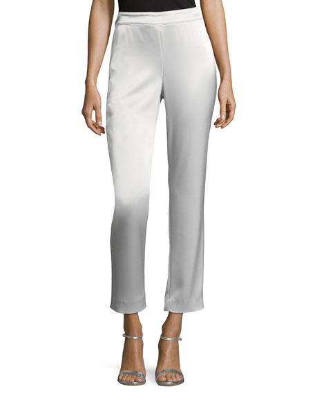 St. John Collection Liquid Satin Cropped Pants, Silver