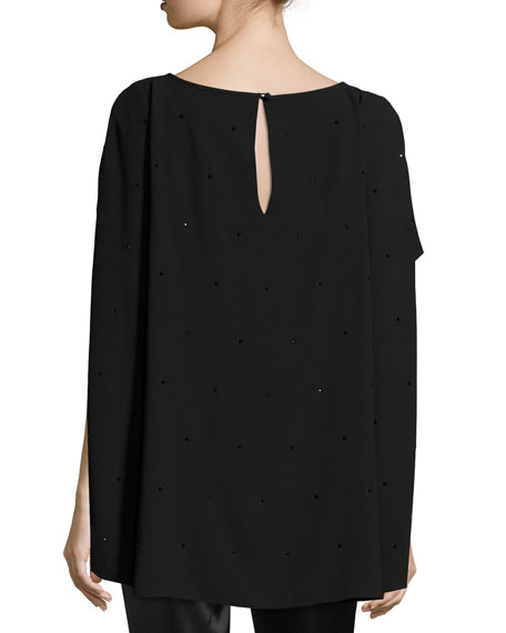 Lightweight Embellished Satin Back Crepe Cape Top