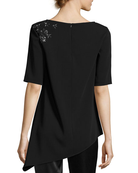 Embellished V-Neck Elbow-Sleeve Top