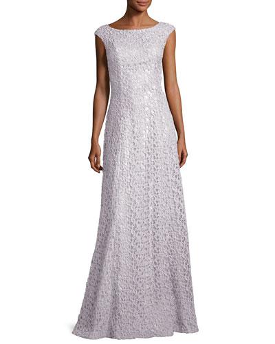 Gita Guipure Lace Bateau-Neck Gown