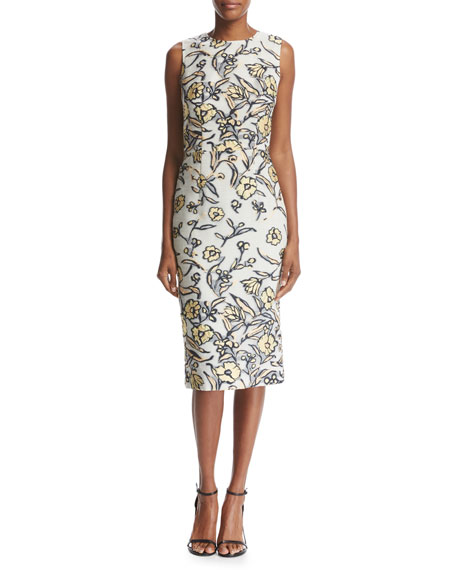 St. John Collection Painted Floral Organza Wrap and