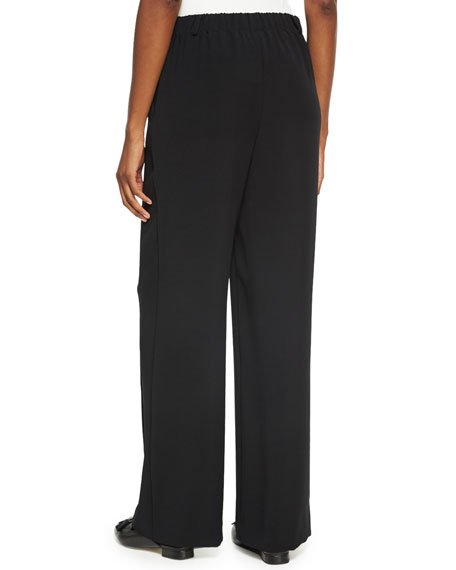 Drapey Twill Pull-On Wide-Leg Pants