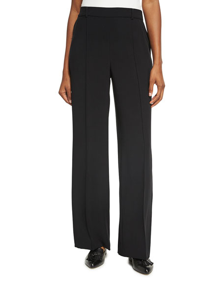 St. John Collection Drapey Twill Pull-On Wide-Leg Pants