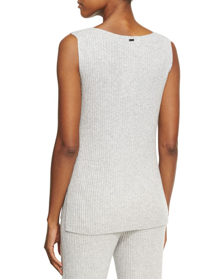Cashmere Knit Round-Neck Shell Top