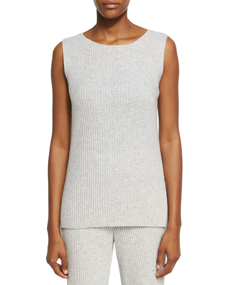 St. John Collection Cashmere Knit Round-Neck Shell Top