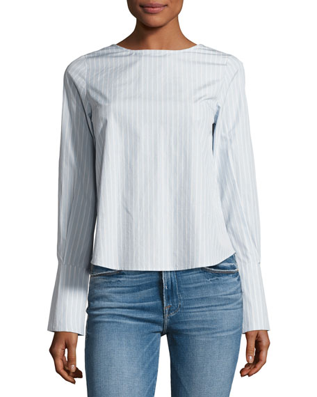 FRAME Backwards Long-Sleeve Poplin Blouse, Blue/White