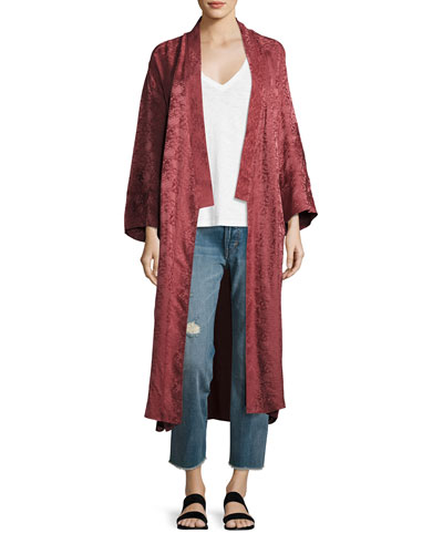 Tracey Wide-Sleeve Robe Wrap Jacket