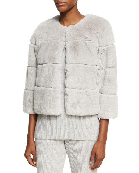 Rex Rabbit Fur Jewel-Neck Jacket