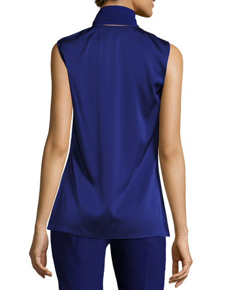 Tie-Neck Satin Shell, Cobalt