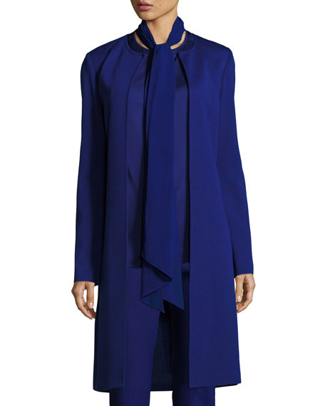 St. John Collection Milano Knit Topper Jacket with Tie Back, Cobalt