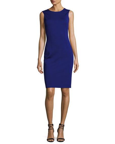 Sleeveless Milano Knit Sheath Dress, Cobalt