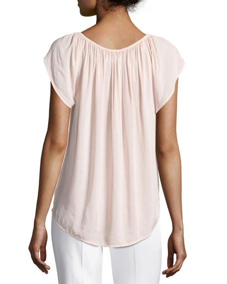 Caris Scoop-Neck Cap-Sleeve Top, Pink