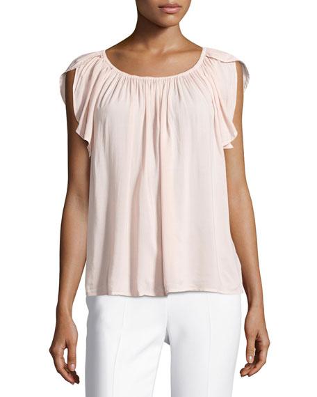 Velvet Caris Scoop-Neck Cap-Sleeve Top, Pink