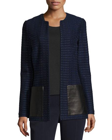 Glazed Ribbon Tweed Jacket w/ Leather Patch Pockets