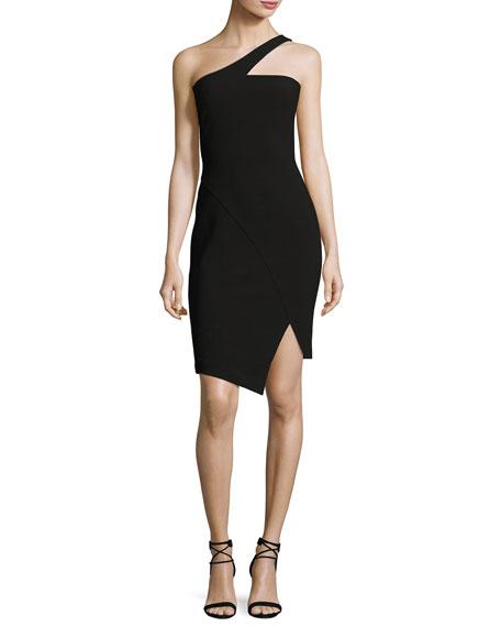 Cerise One-Shoulder Ponte Dress, Black