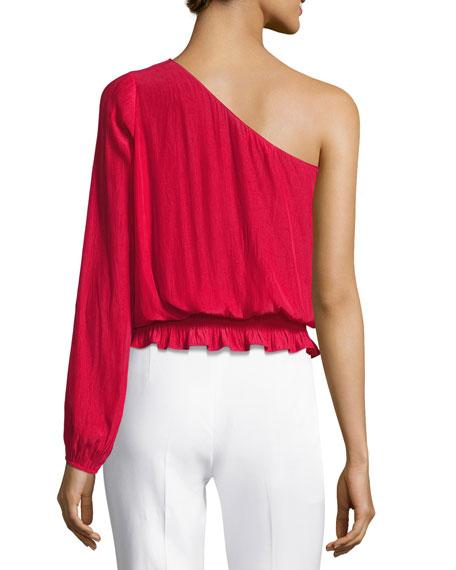 Janey One-Shoulder Long-Sleeve Top, Red