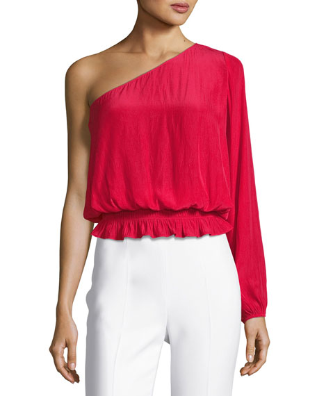 Janey One-Shoulder Long-Sleeve Top, Red