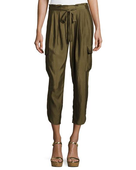 Ramy Brook Allyn Soft Sateen Cargo Pants, Green