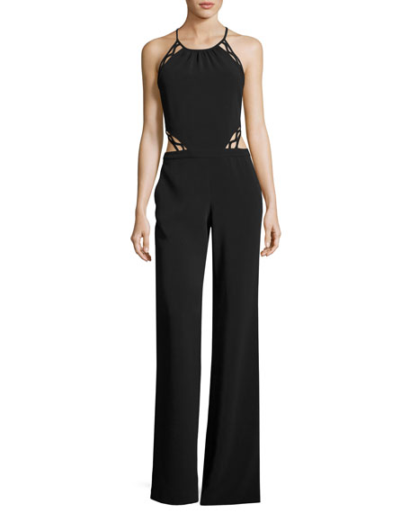 Ramy Brook Abbey Halter Cutout Jumpsuit, Black