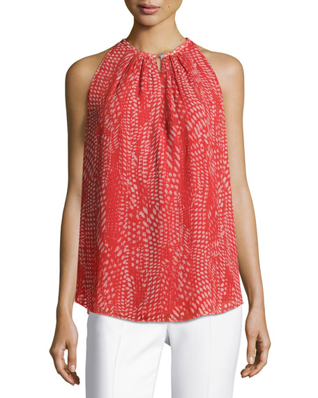 Ramy Brook Piper Sleeveless Pleated Ibiza Geo-Print Top,