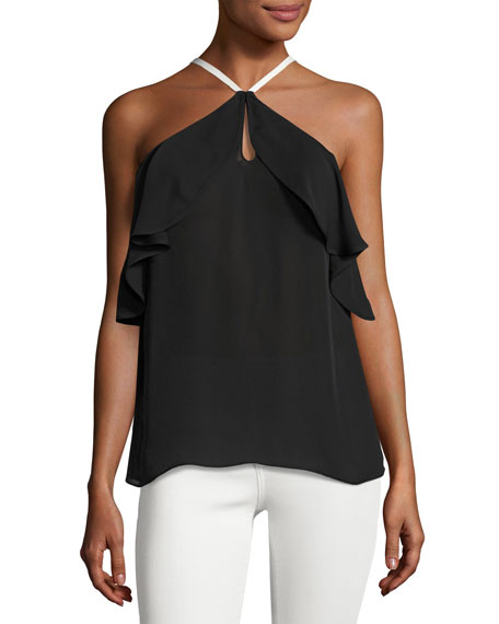 Ramy Brook Elli Piped Halter Ruffle Silk Top,