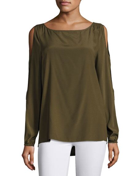 Ramy Brook Madden Long Slit Sleeves Top, Green