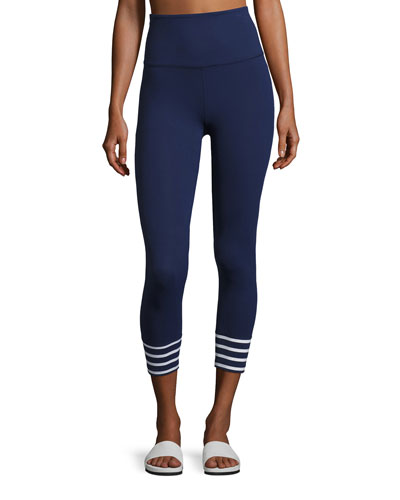x kate spade new york sailing stripe cuff capri leggings, Navy