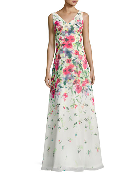 Sleeveless Floral Chiffon Gown, White/Multicolor