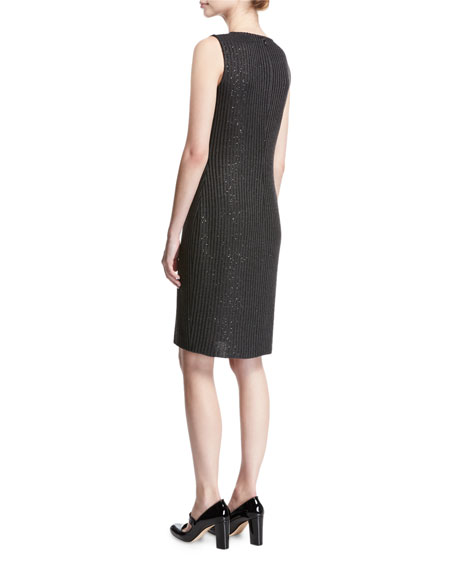 Faux Rib Sequin Knit Cocktail Dress