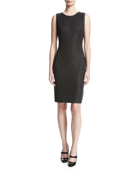 St. John Collection Faux Rib Sequin Knit Cocktail