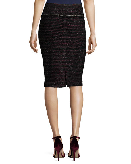Shimmer Two-Tone Tweed Pencil Skirt