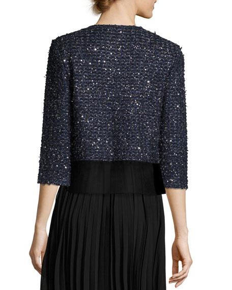 Ribbon Metallic Tweed Jacket W/ Organza Shirttail