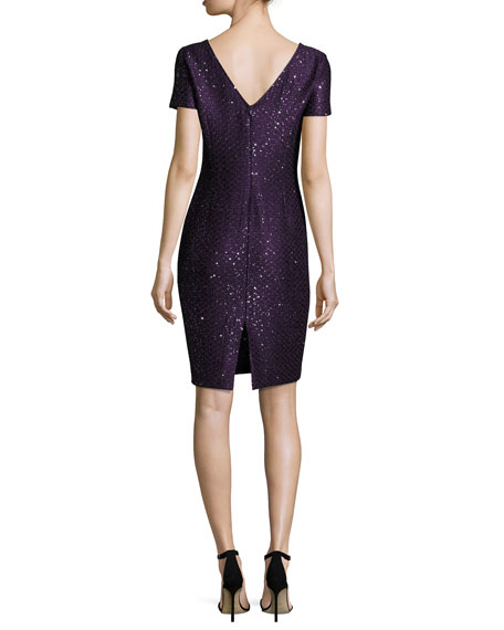 Hansh Sequined Knit Cocktail Sheath Dress