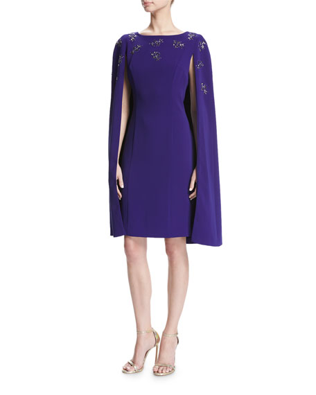 St. John Collection Cocktail Sheath Dress W/ Embellished Cape