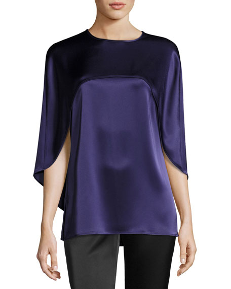 St. John Collection Liquid Satin Jewel Neck Top