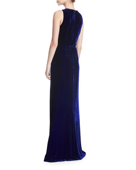Velvet Draped Bow-Front Gown
