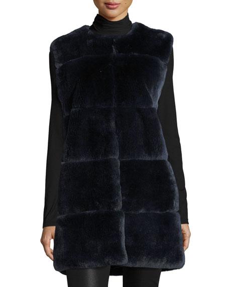 Rex Rabbit Fur Vest W/ Leather Pockets
