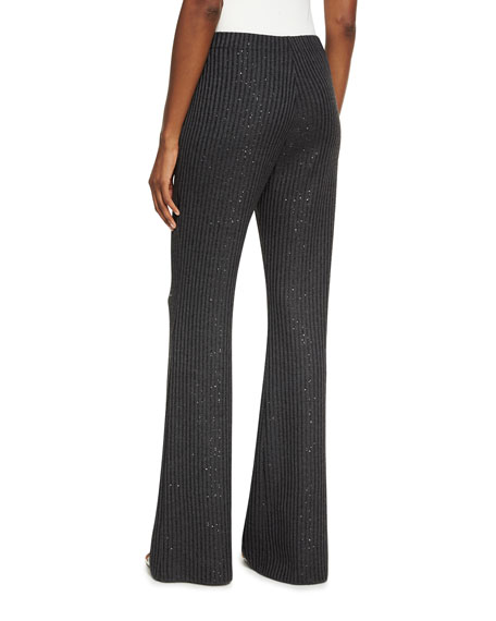 Faux-Rib Sequin Knit Flare-Leg Pants
