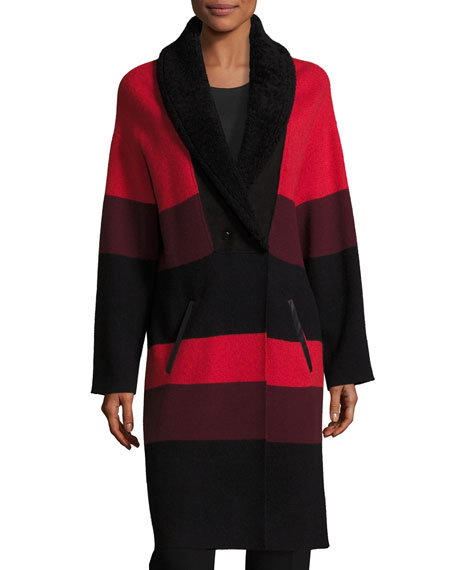 St. John Collection Felted Wool Colorblock Coat W/
