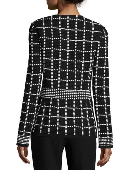 Textural Jacquard Zip-Front Jacket
